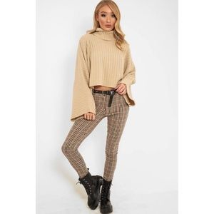 Nasty Gal Beige Bell Sleeve Rolled Neck Sweater